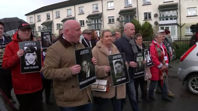 Bloody Sunday soldier faces murder charges NORTHERN IRELAND Londonderry EXT Various of relatives of the people killed on Bloody Sunday when British...