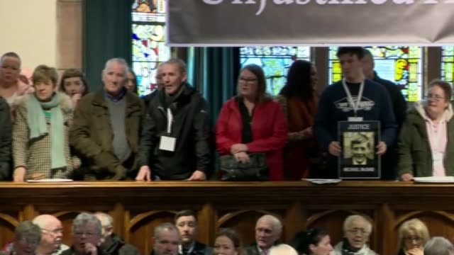 bloody sunday murder inquiry: bloody sunday soldier faces murder charges; northern ireland: londonderry : int various of press conference held by the... - domenica video stock e b–roll
