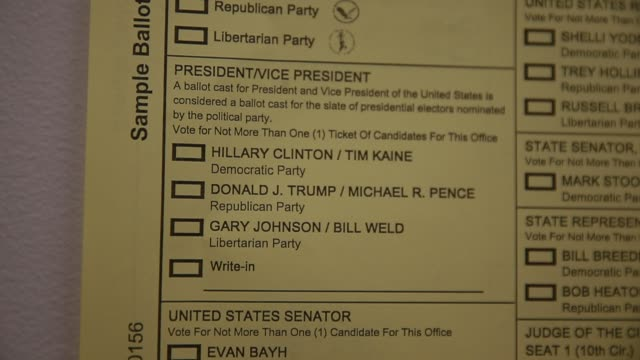 A sample ballot shows Hillary Clinton and Donald Trump on the ballot at the Ellettsville Fire Department in Indiana during on Election Day 2016 The...