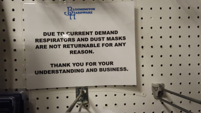 bloomington, indiana, usa: a section where respirator masks is nearly sold out as coronavirus shoppers at bloomington hardware in bloomington,... - sold out stock videos & royalty-free footage