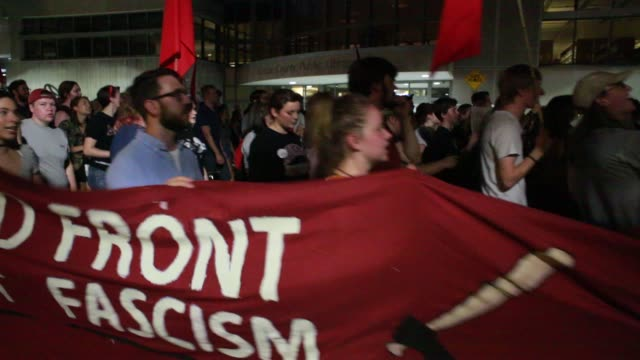 Indiana University students Bloomington community members Democratic Socialists of America Students Against State Violence and members of Antifa...