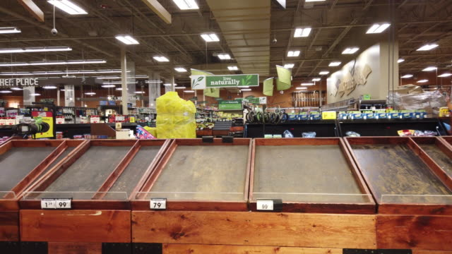 bloomington, indiana, usa: shelves are cleared of potatoes and onions at a kroger in bloomington, just before the store is shutting down for the... - shelf stock videos & royalty-free footage