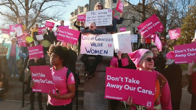 supporters chant my body my choice planned parenthood supporters rally on the steps of the monroe county courthouse to protest against the republican... - women's issues stock videos & royalty-free footage