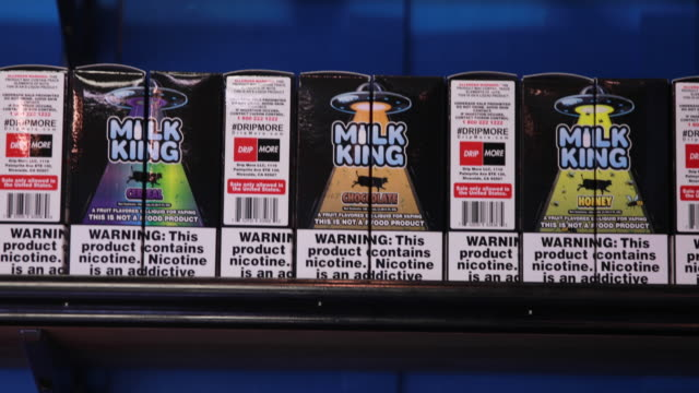 vaping liquids containing nicotine for sale at indy e cigs on kirkwood avenue in downtown bloomington indiana thursday february 14 2019 the indiana... - nikotin stock-videos und b-roll-filmmaterial