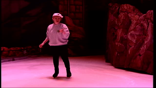 utv bloopers 1 int tracy magee skating on ice but almost falls over regains her balance then tries again wobbly skating then says 'i could break a... - pirouette stock videos and b-roll footage