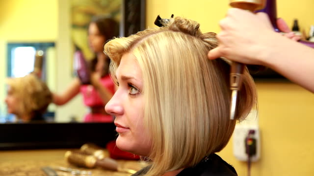 blow dry closeup - blow drying hair stock videos and b-roll footage