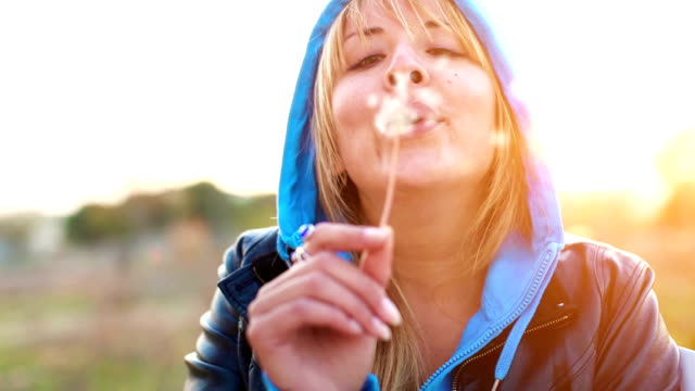 blowing on a dandelion - ease stock videos & royalty-free footage