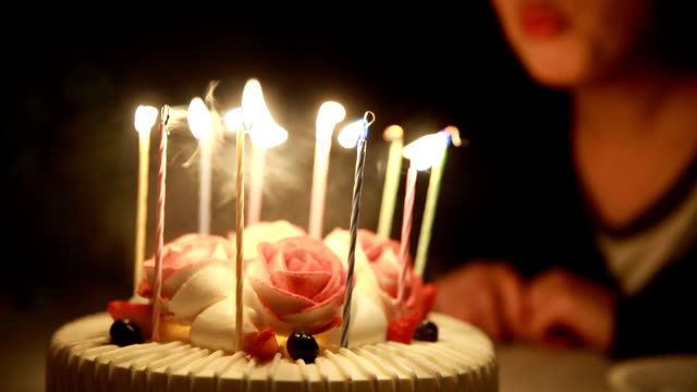 blowing out candles on birthday cake - birthday cake stock videos & royalty-free footage