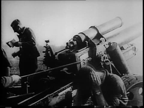 blown up bridge / barge with war equipment / nazi soldiers crossing river in boats / german dive bomber stukas flying / pilot releases stick / bombs... - 1941 stock-videos und b-roll-filmmaterial