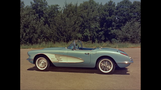 ws blue 1960 chevy corvette parked at roadside / united states - blue convertible stock videos & royalty-free footage