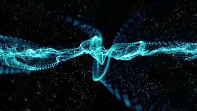 Blauwe abstracte achtergrond voor digitale golf deeltjes formulier, animatie van naadloze loops