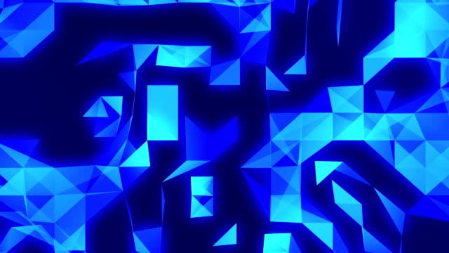 vídeos y material grabado en eventos de stock de imágenes de fondo loopable tecnología abstracta azul con triángulos - mosaico