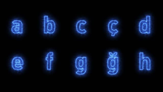 blue alphabet loopable with luma matte - neon stock videos & royalty-free footage