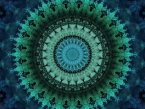 vídeos de stock e filmes b-roll de blue and green kaleidoscope. - psychedelic