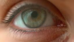SLO MO ECU Blue and hazel eye opening and blinking