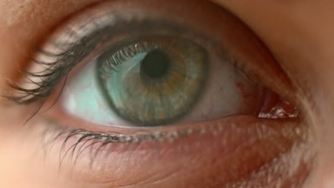 slo mo ecu blue and hazel eye opening and blinking - blinking stock videos & royalty-free footage