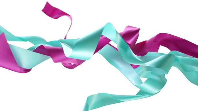 blue and pink ribbons on white background, for celebration events and party for new year, birthday party, christmas or any holidays, waiving and curling in super slow motion and close up - loopable moving image stock videos & royalty-free footage