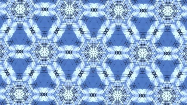 vídeos y material grabado en eventos de stock de caleidoscopio azul y blanco - arte decorativo