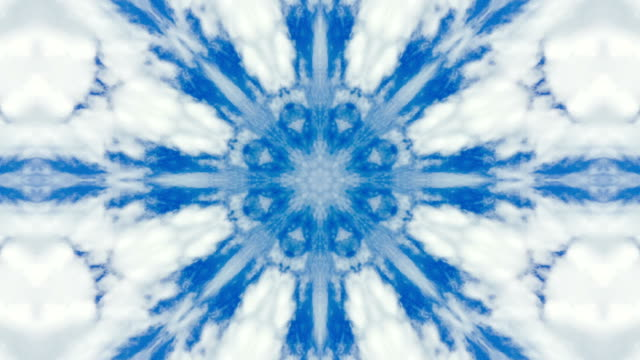 Blue and white mandala motion graphic loop