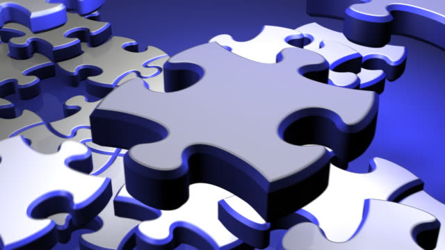 blue and white puzzle - puzzle stock videos and b-roll footage