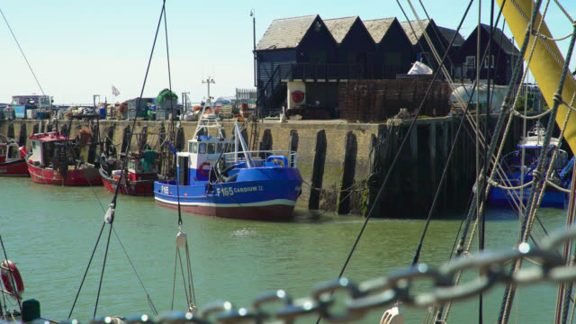 stockvideo's en b-roll-footage met ws blue and white trawler boat in harbour - anchored