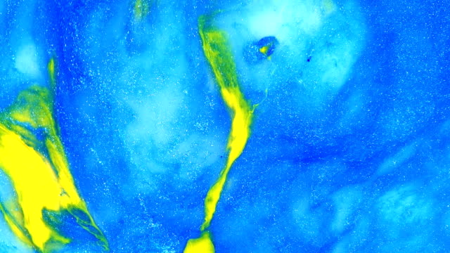 Blue and yellow and milky white 1 vibrant bright paint and oil color swirls entropy