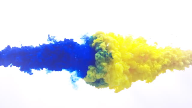 blue and yellow ink splash in super slow motion - poster template stock videos & royalty-free footage