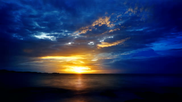 blue and yellow ocean sunset - waterfront stock videos & royalty-free footage