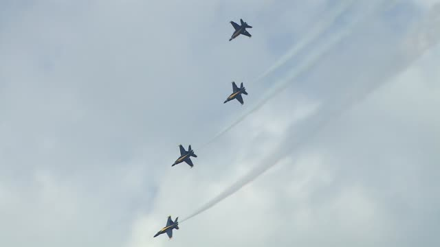 blue angels fly in formation over lake michigan on august 17, 2014 in chicago, illinois. - chicago air and water show stock videos & royalty-free footage