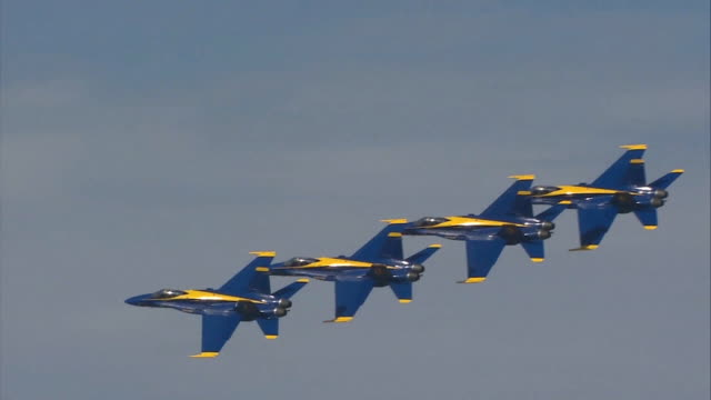 blue angels flying in the sky - arrangement stock videos & royalty-free footage