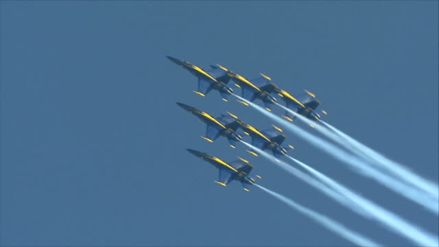 blue angels flying in the sky - fighter stock videos and b-roll footage