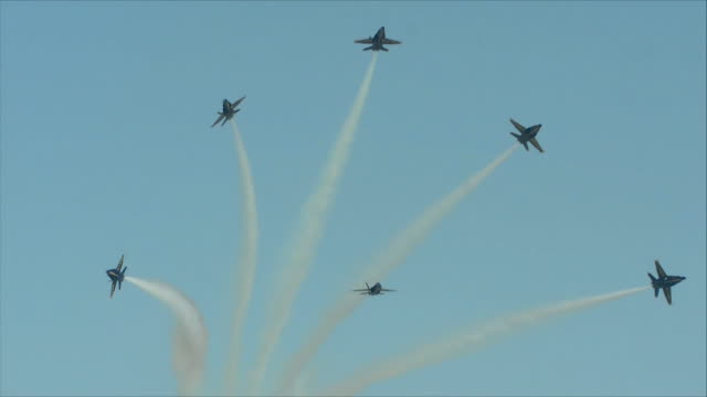 blue angels flying in the sky - airshow stock videos & royalty-free footage