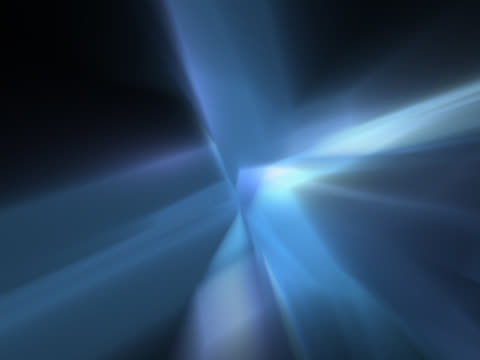 Blue angular shapes rotate around one another against a black background. At the centre on the cluster, a white light source pulses.