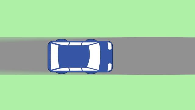 Blau animierte cartoon-Auto fahren auf der Straße