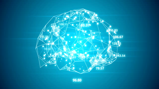 Blue artificial brain with numbers loopable background