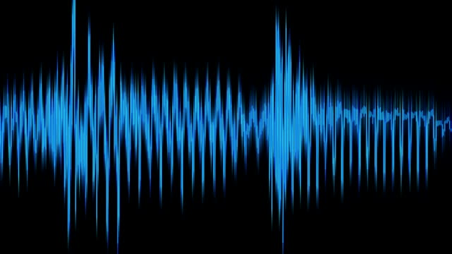 a blue audio waveform streams across a black background. - schallwelle stock-videos und b-roll-filmmaterial