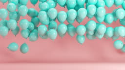 Blue Balloons floating in Pink room background. Minimal idea concept 3D animation.