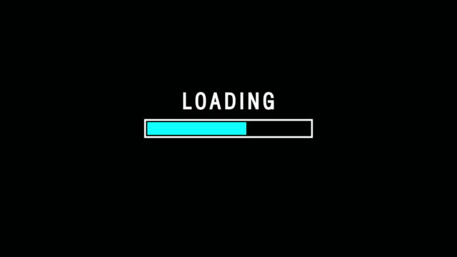 indicatore di caricamento della barra blu sull'animazione dello schermo di sfondo scuro - pagina web video stock e b–roll