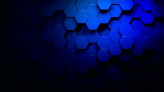 blue beautiful hexagons on surface morphing in seamless 4k abstract motion design background 3d animation for the concepts of technology, communication, transitions, party-social events, celebration events, finance, data, web and mobile - shape stock videos & royalty-free footage