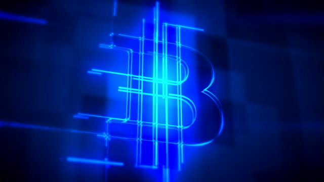 Blue bitcoin sign loopable background