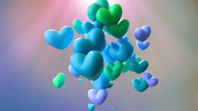 blue bouncing hearts animation - falling in love stock videos and b-roll footage