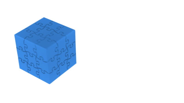 blue box puzzles (2 loops) - cube stock videos and b-roll footage