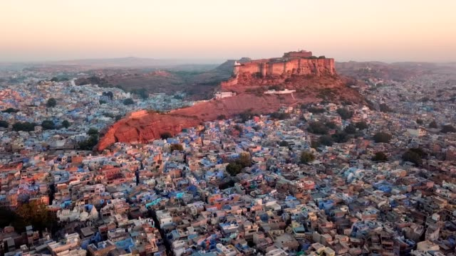 blue city and mehrangarh fort in jodhpur, rajasthan, india - india video stock e b–roll