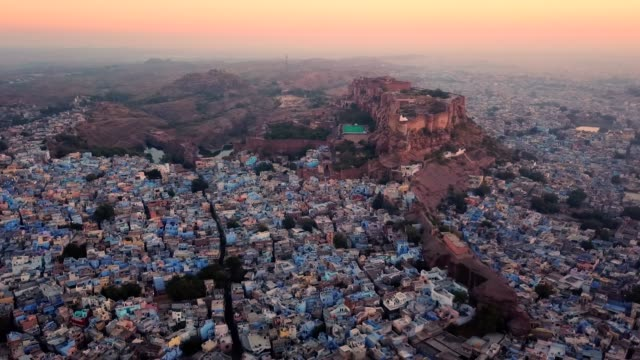 blue city and mehrangarh fort in jodhpur, rajasthan, india - fortress stock videos & royalty-free footage