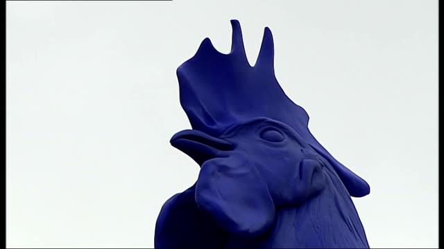 Blue cockerel artwork unveiled on fourth plinth in Trafalgar Square ENGLAND London Trafalgar Square EXT Covers released on fourth plinth to reveal...