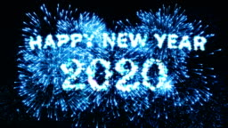 Blue Color Fireworks Display Happy new year 2020 4K.