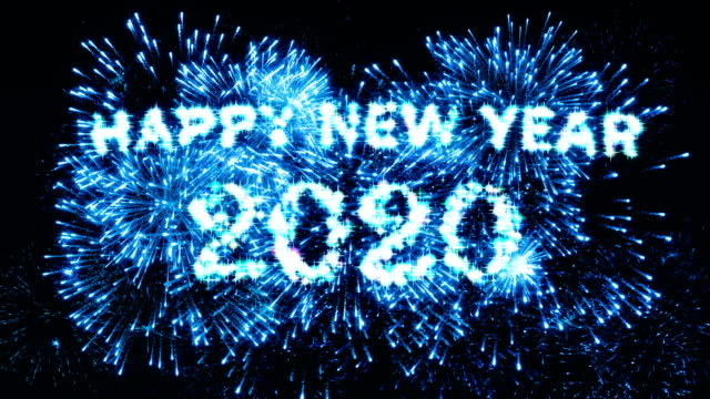 blue color fireworks display happy new year 2020 4k. - new year's eve stock videos & royalty-free footage