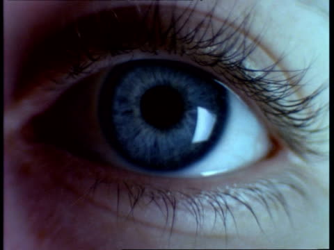 bcu blue coloured human eye blinks twice - eyeball stock videos and b-roll footage