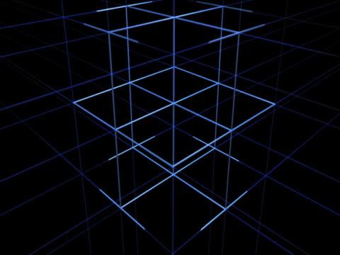 Blue Cube and Geometric Grid