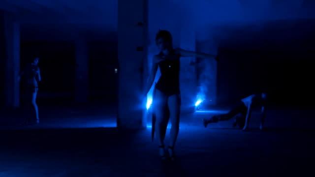 blue dancers - three people stock videos & royalty-free footage